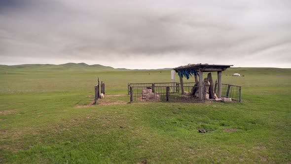 Historical Monument in Mongolian Steppes