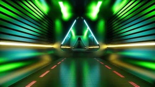 Techno Tunnel Futuristic Perspective Grid Background Texture.