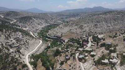 Meandering Valley Stone Houses Aerial