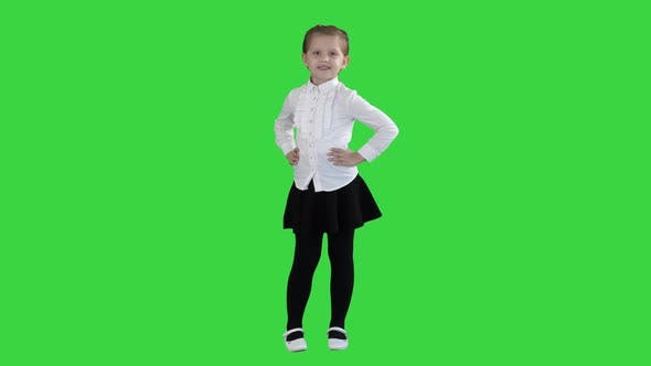 Thumbnail for Cute Little Girl in White Dress Posing on Camera on a Green Screen, Chroma Key