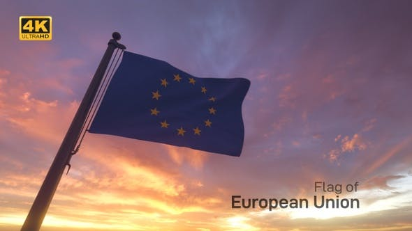 Thumbnail for EU Flag on a Flagpole V3 - 4K