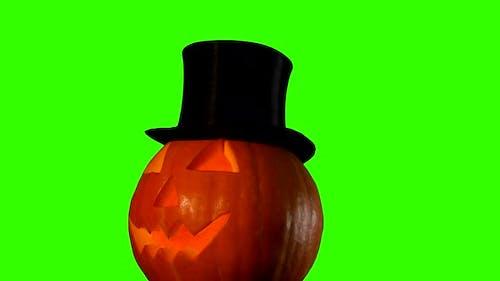 Helloween Тыква на зеленом экране