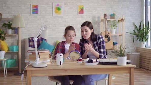 Mom Teaches Teen Daughter Facial Skin Care