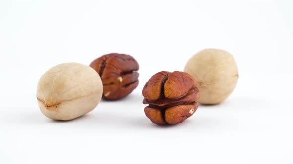 Thumbnail for Two Cracked Pecan Nuts and Two Kernels Pecan Nuts. Slowly Rotating on the Turntable Isolated
