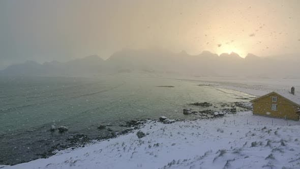 Thumbnail for Snowfall over the Fjord and Wind