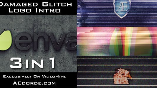 Thumbnail for Damaged Glitch Logo Intro - 3in1 Pack