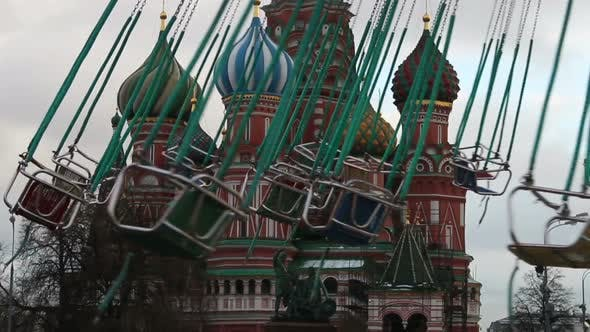 Thumbnail for Chain Carousel with Passengers Cathedral St, Basil's Cathedral