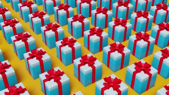 Boîtes cadeaux bleues sur fond jaune