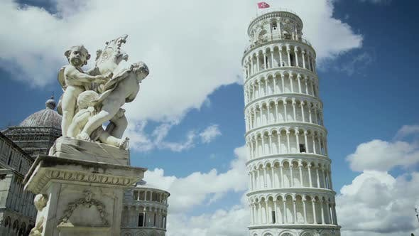Thumbnail for Exciting View of Fountain with Angels and Leaning Tower of Pisa in Italy Tour