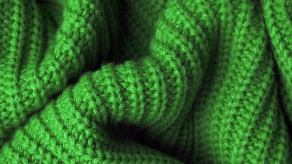 Thumbnail for The Texture of the Fabric. Green Knitted Texture. Close-up. Can Be Used As a Background.