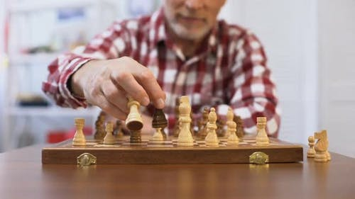 Senior Gentleman Training for Chess Competition, Developing Strategy, Checkmate