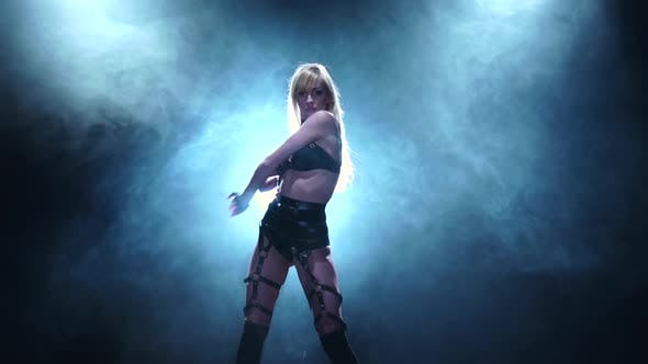 Thumbnail for Girl Is Dancing in Lingerie. Smoky Studio, Slow Motion