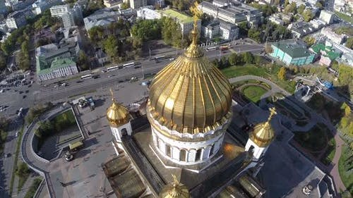 Flight Around of the Cathedral of Christ the Saviour Against Background of City Moscow Russia