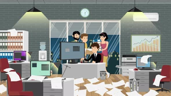 Thumbnail for Office Manager Stressed By His Employees Cartoon