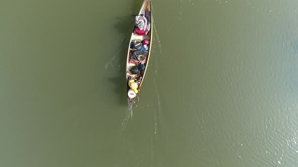 Thumbnail for Birdseye view of a Canoe On A Jungle River