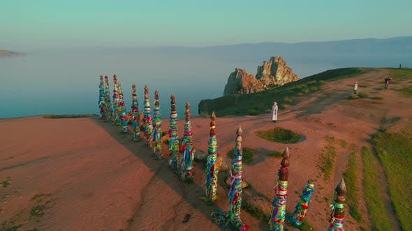 Thumbnail for Shamanka Aerial Shot with Quadrocopter Lake Baikal, Summer Dawn