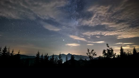 Thumbnail for Beauty of Night Sky with Milky Way Galaxy Stars and Clouds in Mountains Landscape
