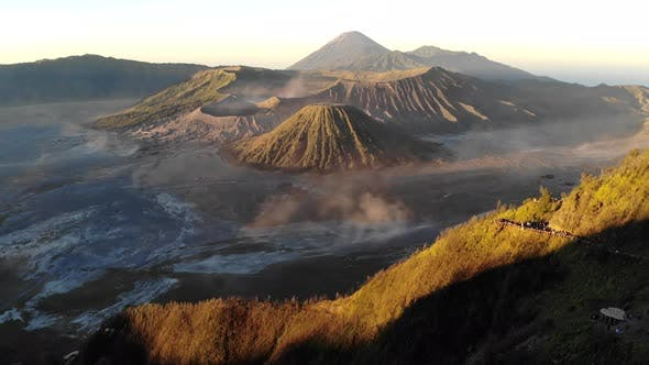 Cover Image for Beautiful cinematic aerial view video clip of Bromo mountains during sunrise