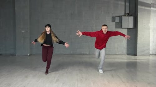 Attractive Couple Dancing Hiphop
