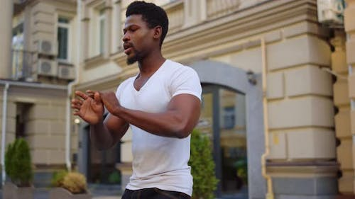Hot Afro Male Dancer Dancing Bachata Outdoors