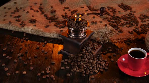 Thumbnail for Coffee Grinder Full of Coffee Beans and Cup of Espresso