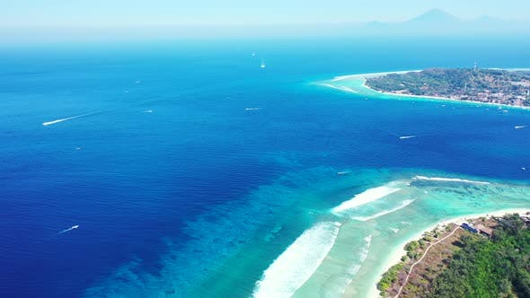 Thumbnail for Luxury aerial abstract shot of a summer white paradise sand beach and aqua blue water background in