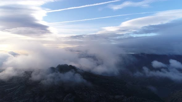 Clouds and Mist in Mountain, High Peaks with Forest, Wonderful Morning Sunrise Natural Landscape