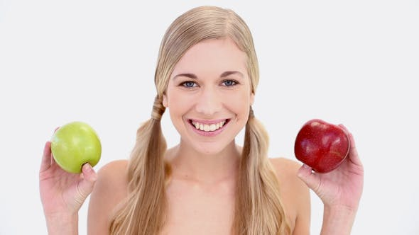 Thumbnail for Happy Nude Blonde Holding Red And Green Apples