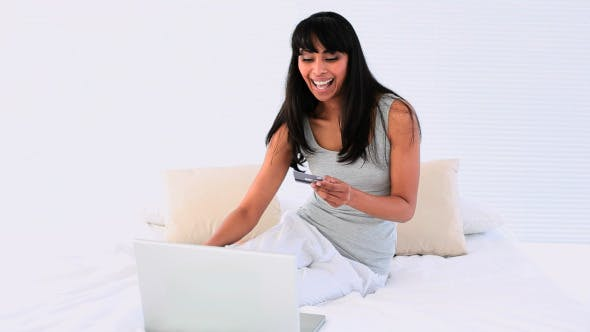 Thumbnail for Attractive Woman Shopping Online With Laptop
