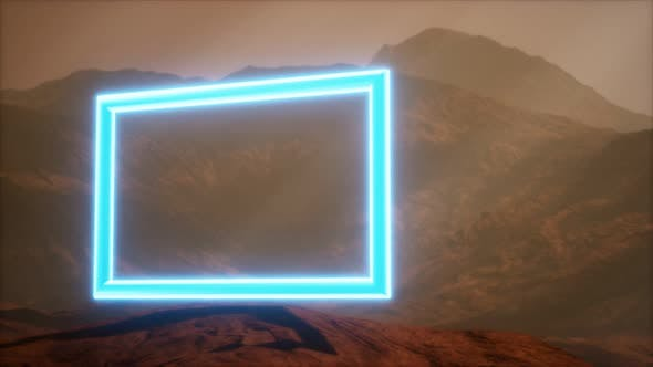 Thumbnail for Neon Portal on Mars Planet Surface With Dust Blowing