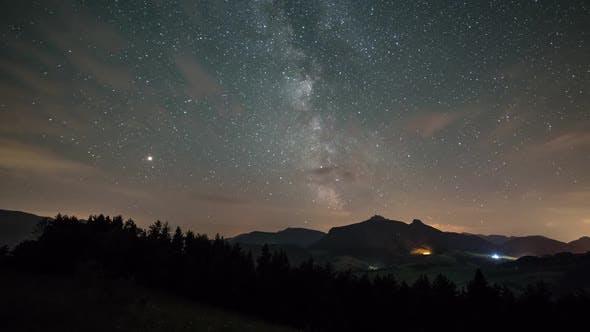 Milky Way Galaxy Mountains