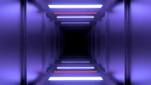 Looping Square Tunnel with Neon Walls