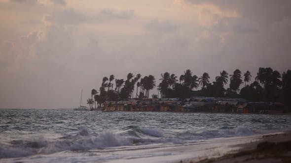 Thumbnail for Storm On Palm Thatched Bungalow Next To Beach