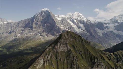 Aerial of Mannlichen and Jungfrau Bernese Oberland Switzerland