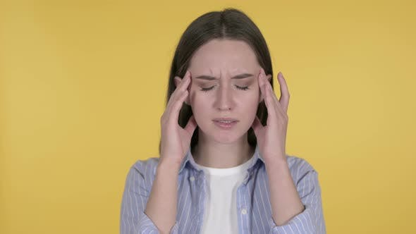 Thumbnail for Young Woman with Headache on Yellow Background