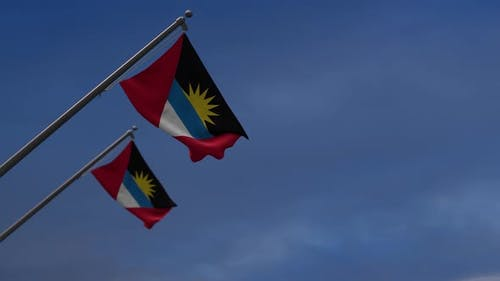 Antigua And  Barbuda Flags In The Blue Sky   2K
