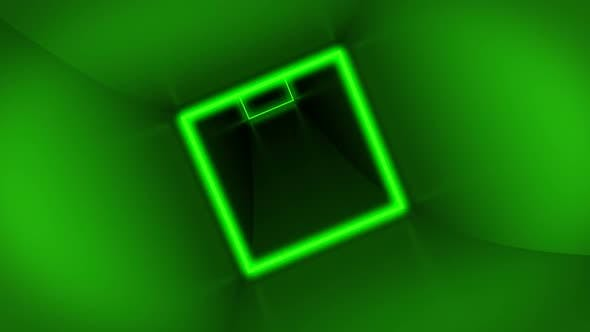 Flying Through Colorful Cube Tunnel Neon Squares