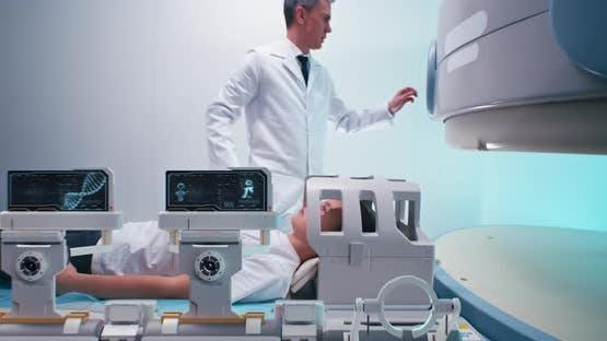Doctor Preparing Boy for Futuristic MRI Procedure
