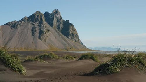 Drone Footage of Stokksnes Cape with Vestrahorn in Background
