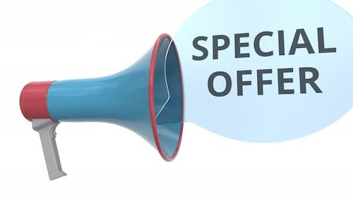 Blue Megaphone with SPECIAL OFFER Message on Speech Bubble
