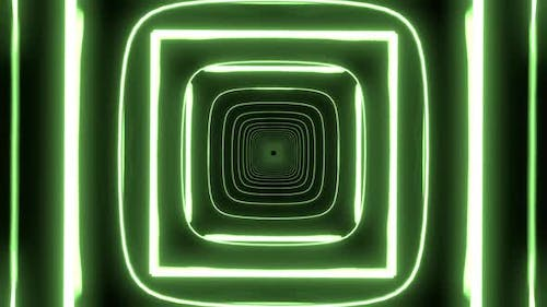 Green and White Shapes with Neon Colors in Endless Seamless Loop