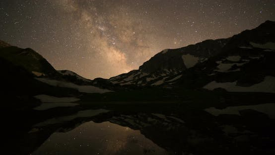 Thumbnail for Starry Sky Milky Way Over Mountains