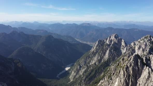 Above mountains peak in julian alps,Mangart,Triglav National Park
