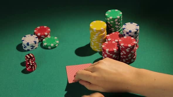 Thumbnail for Fortunate Poker Player Checking Cards, Getting Chance to Win Game With Two Aces
