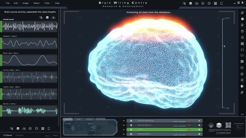 User App Interface of Human Brain Scan on Futuristic HUD