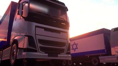 Cargo Trucks with Israel Flag