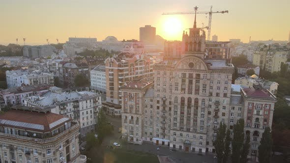 Thumbnail for Ukraine, Kyiv : City Center in the Morning at Sunrise. Aerial View, Kiev