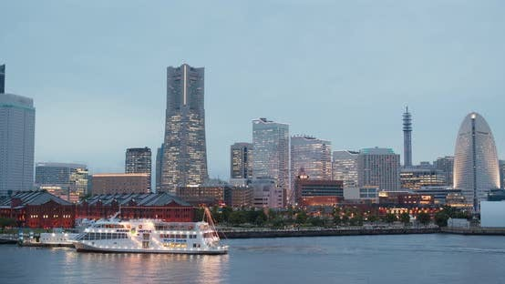 Cover Image for Yokohama city bay at sunset