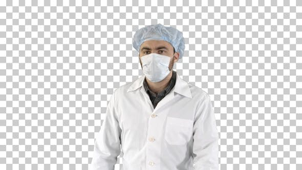 Mature surgery in a mask walking Front view, Alpha Channel