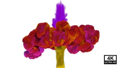 Purple And Yellow Ink Collisions 4K